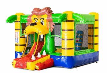 Koop mini opblaasbare springkussen in leeuw thema met glijbaan voor kinderen, Bestel opblaasbare springkussens bij JB Inflatables Nederland