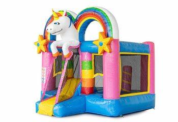 Bestel mini opblaasbare springkussen met glijbaan in unicorn thema voor kinderen. Koop opblaasbare springkussens online bij JB Inflatables Nederland
