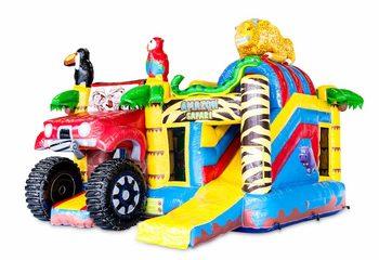Overdekt opblaasbaar multiplay springkussen met glijbaan kopen in thema amazon safari voor kinderen. Bestel opblaasbare springkussens online bij JB Inflatables Nederland