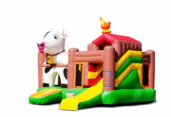 Opblaasbaar open multiplay springkussen met glijbaan kopen in thema boerderij dieren voor kinderen. Bestel opblaasbare springkussens online bij JB Inflatables Nederland