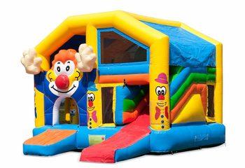 Opblaasbaar overdekt multiplay springkussen met glijbaan kopen in thema clown voor kinderen. Bestel opblaasbare springkussens online bij JB Inflatables Nederland
