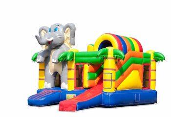 Opblaasbaar overdekt multiplay springkussen met glijbaan kopen in thema olifant voor kinderen. Bestel opblaasbare springkussens online bij JB Inflatables Nederland