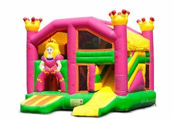Opblaasbaar open multiplay springkussen met glijbaan kopen in thema prinses voor kinderen.  Bestel opblaasbare springkussens online bij JB Inflatables Nederland