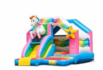 Opblaasbare slide combo unicorn springkussen te koop voor kinderen, Bestel nu opblaasbare springkussens met glijbaan bij JB Inflatables Nederland