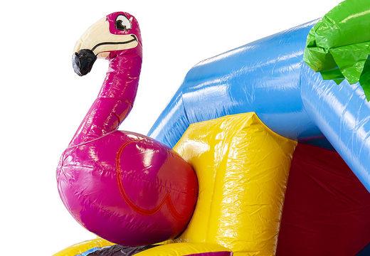 Opblaasbare slide combo springkussen met glijbaan bestellen voor kinderen. Koop nu springkussens in flamingo thema bij JB Inflatables Nederland