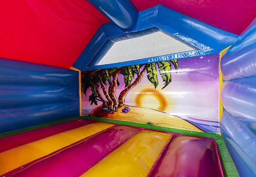Opblaasbaar slide combo springkasteel met glijbaan bestellen in flamingo voor kinderen. Koop springkastelen met roze flamingo bij JB Inflatables Nederland