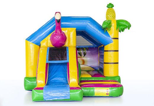 Koop opblaasbare slide combo luchtkussen met glijbaan in flamingo thema voor kinderen. Bestel luchtkussens bij JB Inflatables Nederland