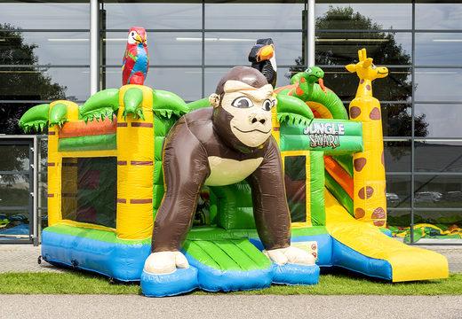 Multiplay springkasteel met slide in thema safari gorilla bestellen voor kinderen. Koop opblaasbare springkastelen online bij JB Inflatables Nederland