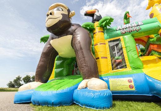 Medium opblaasbare multiplay springkasteel in safari gorilla thema te bestellen voor kinderen. Bestel opblaasbare springkastelen online at JB Inflatables Nederland