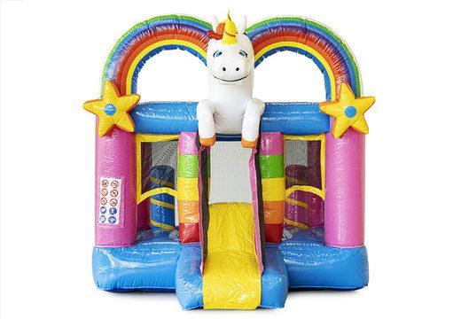 Mini opblaasbare springkasteel met glijbaan en unicorn te koop voor kinderen. Bestel opblaasbare springkastelen online bij JB Inflatables Nederland