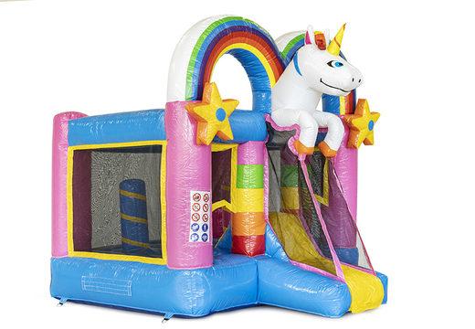 Kleine multiplay opblaasbare springkasteel met glijbaan in unicorn thema te bestellen voor kinderen. Koop opblaasbare springkastelen online bij JB Inflatables Nederland