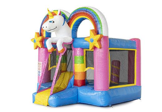 Bestel mini opblaasbare springkasteel met glijbaan in unicorn thema voor kinderen. Koop opblaasbare springkastelen online bij JB Inflatables Nederland