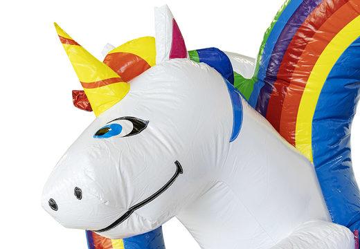 Koop mini opblaasbare unicorn springkasteel met glijbaan voor kinderen bij JB Inflatables. Bestel opblaasbare springkastelen met glijbaan online bij JB Inflatables Nederland