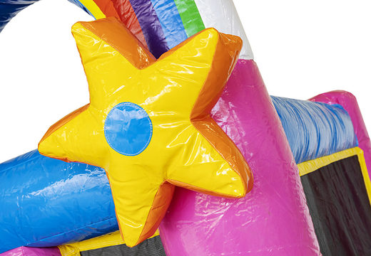 Kleine opblaasbare springkussen met glijbaan in thema unicorn te koop voor kinderen. Bestel opblaasbare springkussens online bij JB Inflatables Nederland