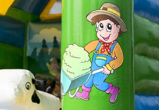 Midi overdekt multifun springkasteel met glijbaan te koop in thema boerderij voor kinderen. Bestel springkastelen online bij JB Inflatables Nederland
