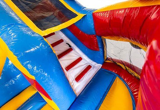Bestel een multifunctioneel luchtkussen in thema achtbaan met een glijbaan voor kids. Koop luchtkussens online bij JB Inflatables Nederland