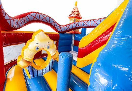 Koop een multifunctioneel Funcity Rollercoaster springkasteel met een glijbaan voor kinderen. Bestel springkastelen online bij JB Inflatables Nederland