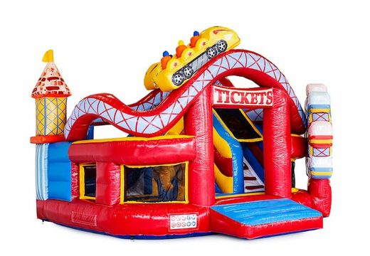 Funcity Rollercoaster springkasteel met aan de binnenkant een glijbaan en het 3D object op het springvlak bestellen voor kids. Bestel springkastelen online bij JB Inflatables Nederland