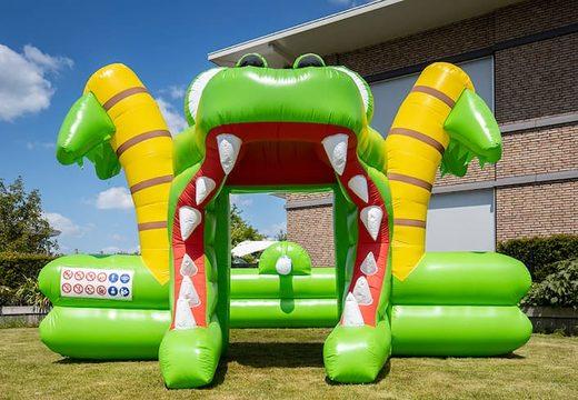 Groot opblaasbaar open bubble boarding park springkussen met schuim kopen in thema krokodil voor kinderen