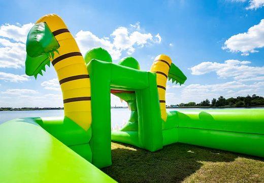 Groot inflatable open bubble boarding park springkussen met schuim te koop in thema krokodil voor kids