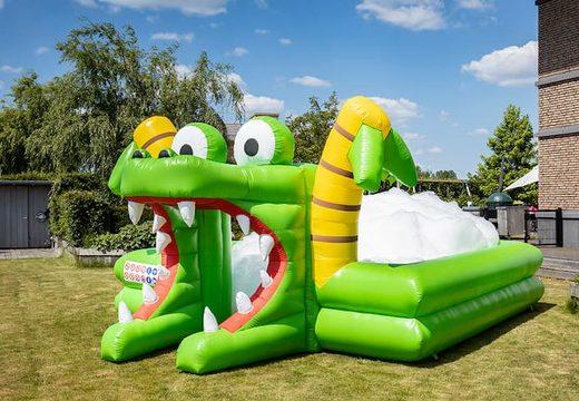 Groot opblaasbaar open bubble boarding park springkussen met schuim kopen in thema krokodil voor kids