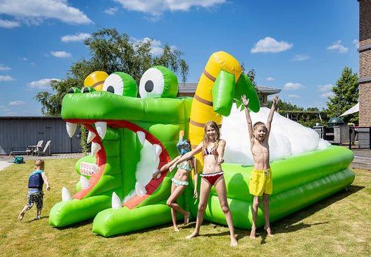 Groot opblaasbaar open bubble boarding park springkussen met schuim bestellen in thema krokodil voor kinderen