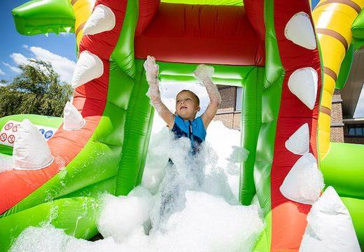 Groot opblaasbaar open bubble boarding park luchtkussen met schuim kopen in thema krokodil voor kinderen