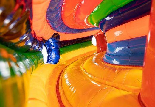 Acquistare un gioco gonfiabile tunnel per bambini con ostacoli e scivolo, tema circo.