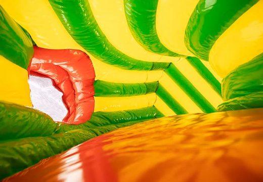 Acquistare un gioco gonfiabile tunnel per bambini con ostacoli e scivolo, tema coccodrillo.