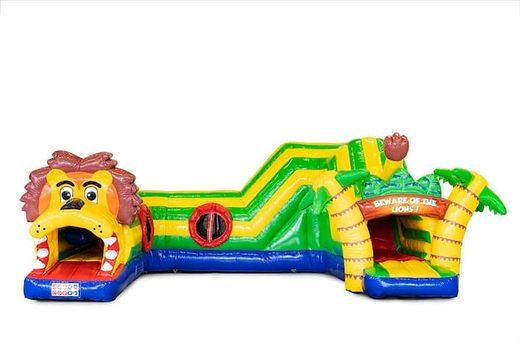 Kruiptunnel leeuw springkussen met obstakals, een klimhelling en glijhelling voor kids bestellen. Koop springkussens online bij JB Inflatables Nederland