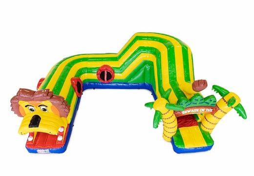 Playfun kruiptunnel springkussen in thema leeuw voor kinderen kopen. Bestel springkussens online bij JB Inflatables Nederland