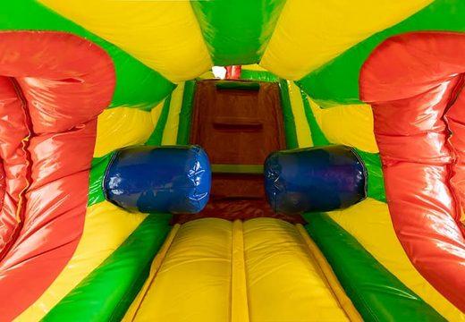Acquistare un gioco gonfiabile tunnel per bambini con ostacoli e scivolo, tema leone.