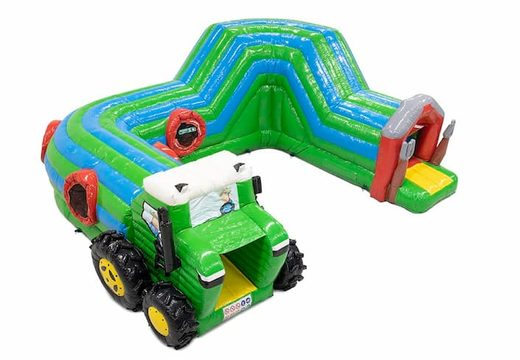Acquistare un gioco gonfiabile tunnel per bambini con ostacoli e scivolo, tema trattore.