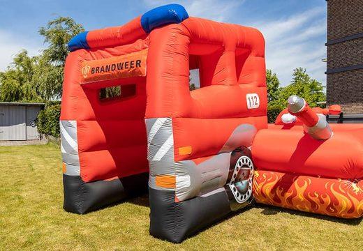Opblaasbaar open bubble boarding park springkussen met schuim kopen in thema brandweer voor kinderen