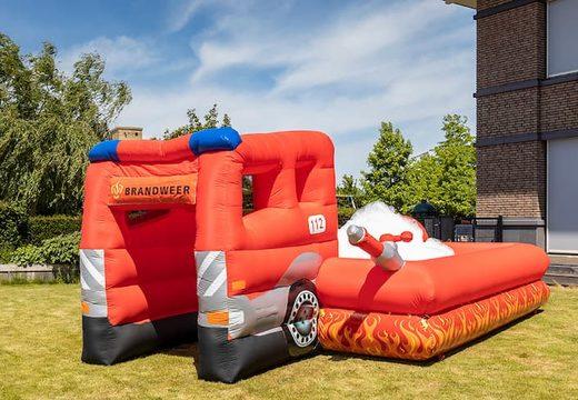 Inflatable open bubble boarding park springkussen met schuim kopen in thema brandweer voor kinderen