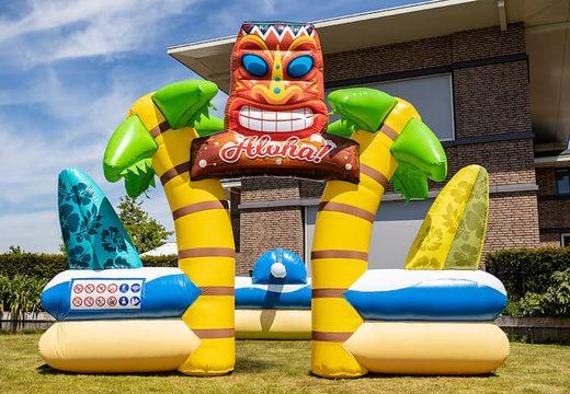 Bubble boarding park springkussen met een schuimkraan in thema Hawaii voor kinderen bestellen. Koop opblaasbare springkussens online bij JB Inflatables Nederland