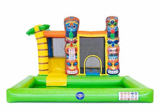 Bestel opblaasbaar multi splash bounce springkussen in Hawaï thema met of zonder bad voor kids. Koop springkussens online bij JB Inflatables Nederland