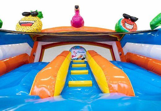 Château gonflable avec piscine connectable en thème flamant rose pour enfants disponible à la vente