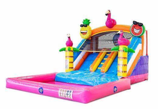 Château gonflable avec piscine raccordable en thème flamant rose à vendre pour enfants