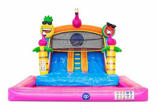 acheter un chateau gonflable avec piscine rose sur le thème du flamant rose