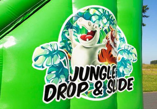 Bestel Drop & Slide Jungle luchtkussen met dubbele glijbaan voor kinderen. Koop opblaasbare luchtkussens online bij JB Inflatables Nederland