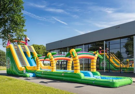 Koop Drop & Slide Jungle Springkussen met dubbele glijbaan voor kinderen. Bestel opblaasbare springkussens online bij JB Inflatables Nederland
