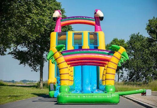 Koop Drop & Slide Jungle luchtkussen dubbele glijbaan voor kinderen. Bestel opblaasbare luchtkussens online bij JB Inflatables Nederland