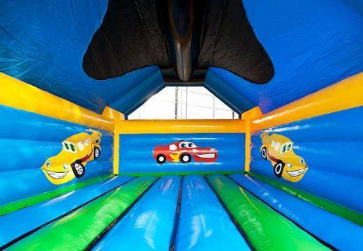Super springkasteel overdekt kopen met vrolijke animaties in auto thema voor kinderen. Koop springkastelen online bij JB Inflatables Nederland