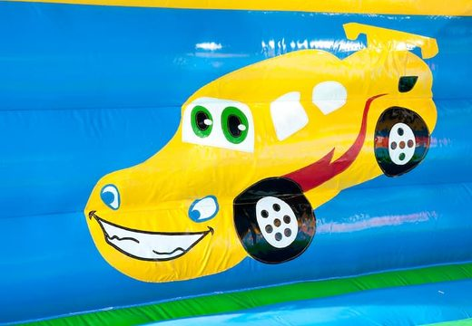 Groot auto super springkasteel overdekt kopen met vrolijke animaties voor kinderen. Koop springkastelen online bij JB Inflatables Nederland