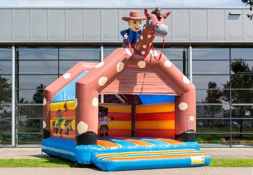 Cowboy super springkussen overdekt kopen met vrolijke animaties voor kinderen. Koop springkussens online bij JB Inflatables Nederland