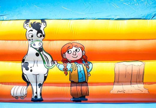 Super springkussen overdekt kopen met vrolijke animaties in cowboy thema voor kinderen. Bestel springkussens online bij JB Inflatables Nederland