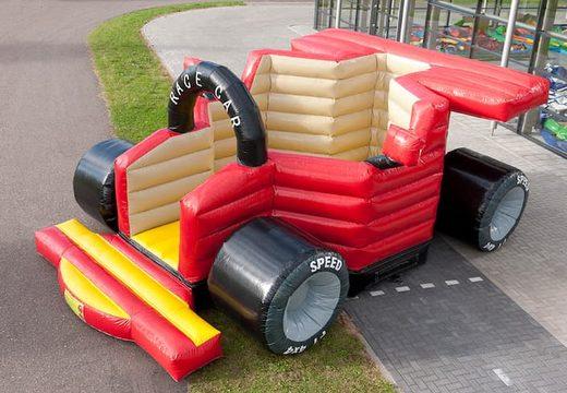 F1 auto super luchtkussen kopen in de kleuren zwart rood bruin en geel voor kinderen. Koop luchtkussens online bij JB Inflatables Nederland