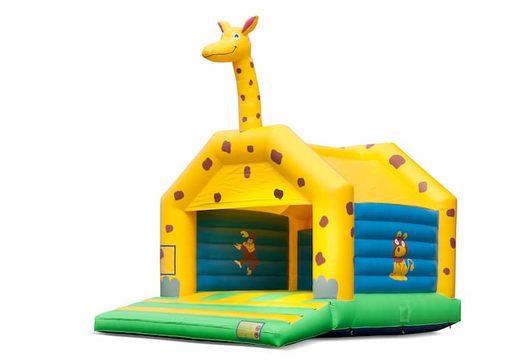 Groot springkussen overdekt kopen in giraffe thema voor kinderen. Bestel springkussens online bij JB Inflatables Nederland