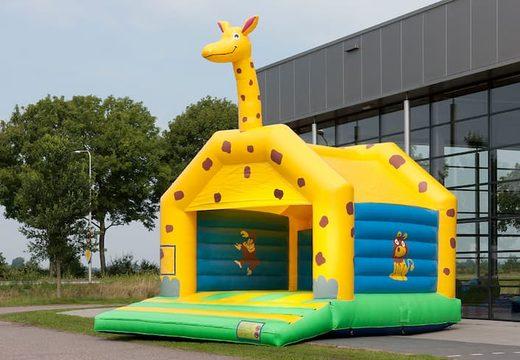 Super springkussen overdekt kopen in giraffe thema voor kinderen. Koop springkussen online bij JB Inflatables Nederland